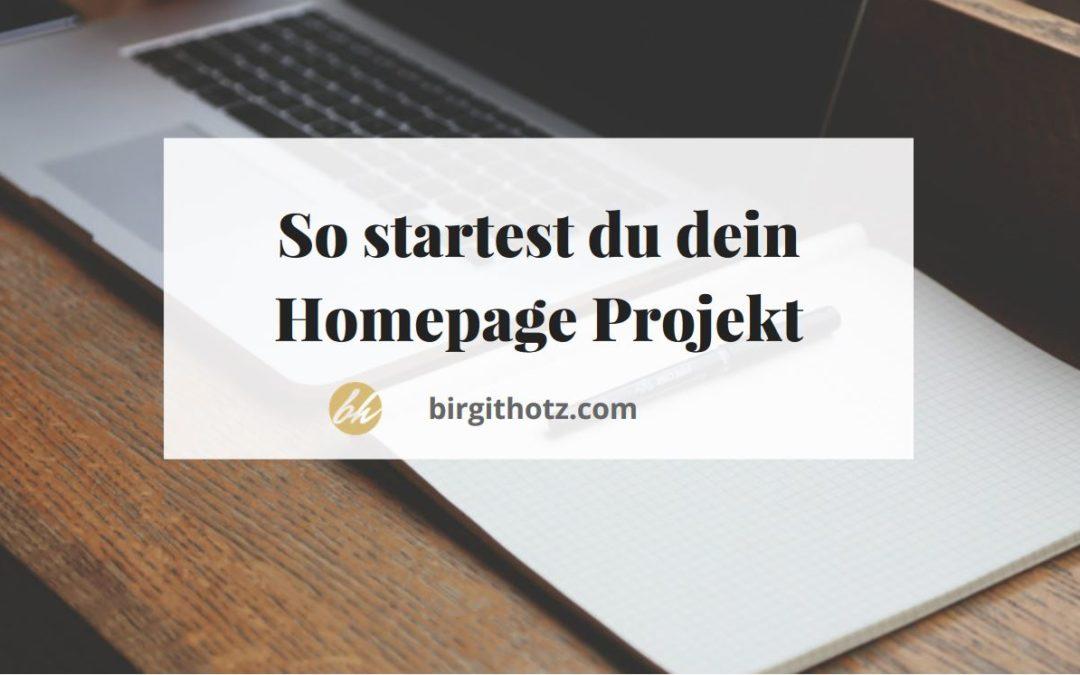 """So startest du dein Projekt """"neue Homepage"""""""