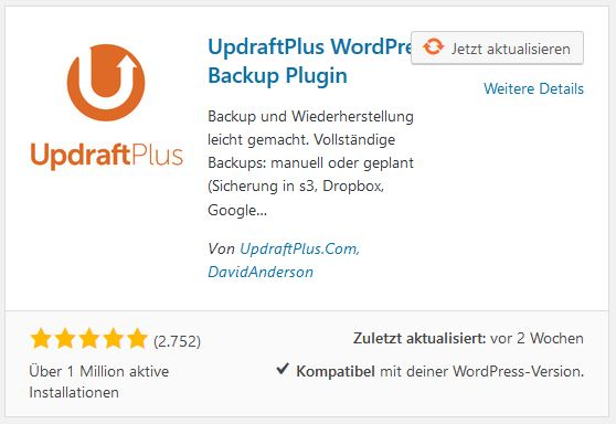 Updraft Plus wichtiges WordPress Plugin