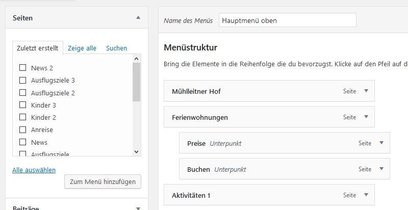 wordpress website erstellen anleitung menü erstellen