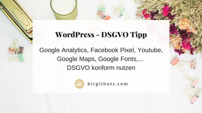 WordPress DSGVO Plugin Google Analytics Facebook Pixel Youtube Google Maps
